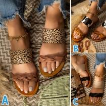 Fashion Flat Heel Open Toe Leopard Printed Slippers