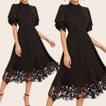 Elegant Solid Color Lotus Sleeve Mock Neck Lace Spliced Hem Dress
