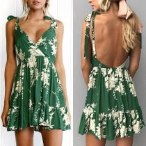 Sexy Backless V-neck Ruffle Hem High Waist Printed Sling Dress