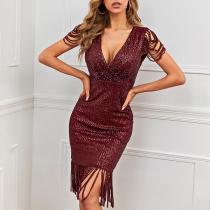 Sexy V-neck Tassel Short Sleeve Hem Slim Fit Sequin Party Dress