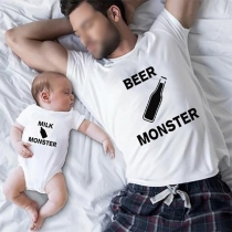 Casual Style Milk Beer Monster Printed Short Sleeve Round Neck Parent-child Clothes