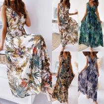 Sexy Backless Deep V-neck Sleeveless High Waist Printed Maxi Dress