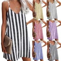 Sexy V-neck Loose Stripe Printed Sling Dress