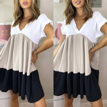 Sexy V-neck Short Sleeve Contrast Color Loose Dress