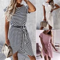 Fashion Short  Sleeve Round Neck Irregular Hem Stripe Printed Dress