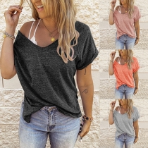 Simple Style Short Sleeve Round Neck Solid Color Loose T-shirt