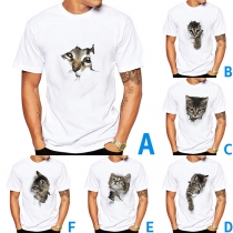 Cute 3D Cat Printed Short Sleeve Round Neck Man's T-shirt