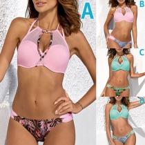 Sexy Low-waist Printed Gauze Spliced Push-up Underwire Bikini Set