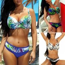 Sexy Low-waist Push-up Underwire Printed Bikini Set