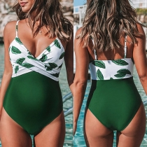Sexy Backless V-neck Printed Spliced Sling One-piece Swimsuit for Pregnant Woman