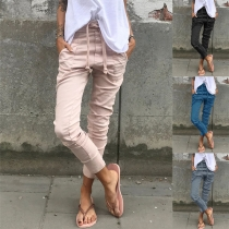 Casual Style Solid Color Drawstring Elastic Waist Pants (The size falls small)