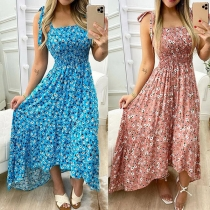 Sexy Backless High Waist High-low Hem Printed Sling Dress