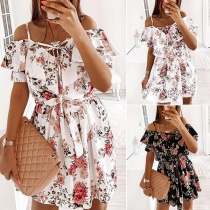 Sexy Off-shoulder Short Sleeve Ruffle Printed Sling Dress