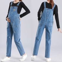 Casual Style High Waist Relaxed-fit Ripped Denim Overalls for Pregnant Woman