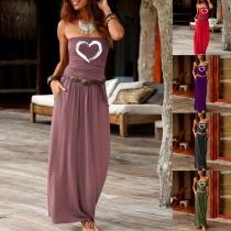 Sexy Strapless Heart Pattern High Waist Maxi Dress