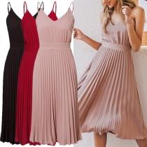 Sexy Backless V-neck High Waist Pleated Hem Solid Color Sling Dress