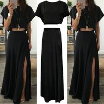 Sexy Short Sleeve Round Neck Crop Top + High Waist Slit Hem Skirt Two-piece Set