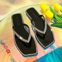Fashion Rhinestone Inlaid Square Toe Crystal Jelly Outdoor Slippers