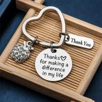Chic Style Letters Engraved Pendant Thanksgiving Day Gift Key Chain