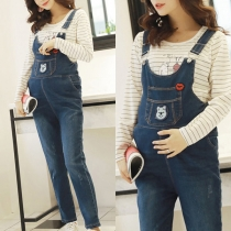 Casual Style High Waist Relaxed-fit Denim Overalls for Pregnant Woman