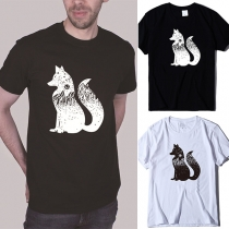 Casual Style Fox Printed Short Sleeve Round Neck Man's T-shirt