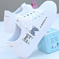 Casual Style Flat Heel Round Toe Lace-up Cat Pattern White Shoes