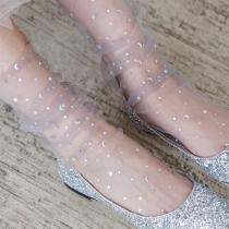 Fashion Sequin Spliced Gauze Socks   2pair/Set