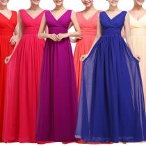 Elegant Solid Color Sleeveless V-neck High Waist Solid Color Party Dress