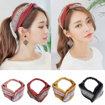Bohemian Style Contrast Color Printed Crossover Head Band  2 Piece/Set