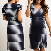 Fashion Short Sleeve V-neck Lace-up Striped Dress for Pregnant Woman