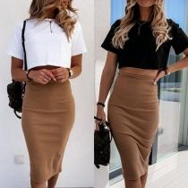 Fashion Short Sleeve Round Neck T-shirt + High Waist Skirt Two-piece Set