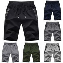 Casual Style Elastic Waist Zipper Pocket Man's Knee-length Sports Shorts