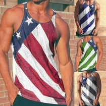Casual Style Sleeveless Round Neck Printed Man's Tank Top