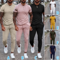 Fashion Solid Color Short Sleeve POLO Collar Man's T-shirt + Pants Two-piece Set