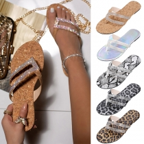 Fashion Flat Heel Rhinestone Inlaid Outdoor Slippers