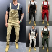 Casual Style High Waist Slim Fit Man's Overalls