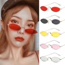 Retro Style Ellipse Frame Sunglasses