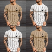 Casual Style Short Sleeve Round Neck Striped Printed T-shirt for Man