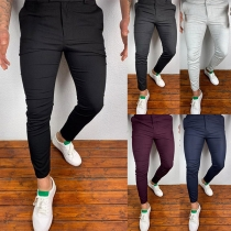 Simple Style Middle Waist Solid Color Man's Casual Pants