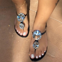 Fashion Rhinestone Inlaid Flat Heel Outdoor Slippers