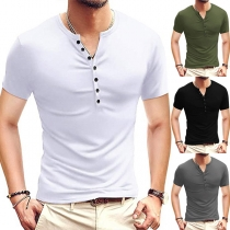Simple Style Short Sleeve V-neck Solid Color Man's T-shirt