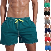 Casual Style Drawstring Elastic Waist Solid Color Man's Beach Shorts