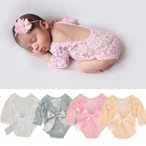 Sweet Style Bow-knot Backless Long Sleeve Lace Romper + Flower Headband for Babies