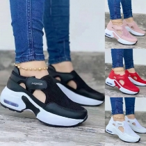 Sports Style Thick Sole Round Neck Hollow Out Sneakers