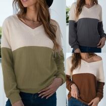 Fashion Contrast Color Long Sleeve V-neck Knit Top