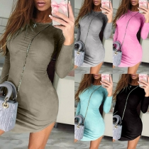 Simple Style Long Sleeve Round Neck Arc Hem Solid Color Slim Fit Dress