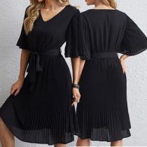 Elegant Solid Color Short Sleeve V-neck Lace-up Chiffon Dress