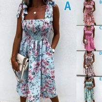 Sexy Backless Square Collar Knotted Sling Printed Summer Dress