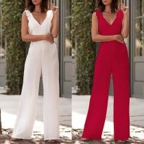 Sexy Backless Deep V-neck Sleeveless High Waist Red-tone Jumpsuit
