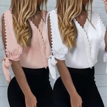 Chic Style Slit Beaded Short Sleeve Lace-trim V-neck Blouse